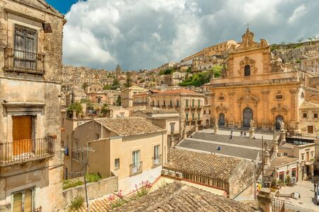 Cityscape of Modica and the Church of Saint Peter, Sicily, Italy
