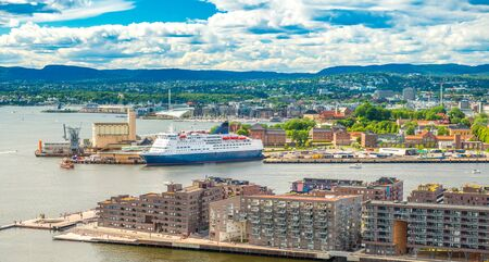 Panoramic view of the port of Oslo, Norway