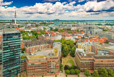Hamburg - July 2019, Germany: Aerial panorama of a modern German city. Cityscape of downtown Hamburg
