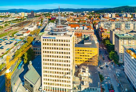 Ljubljana - September 2019, Slovenia: Aerial panorama of downtown Ljubljana