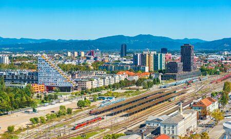 Ljubljana - September 2019, Slovenia: Beautiful aerial panorama of the capital of Slovenia