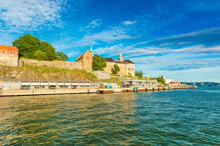 Oslo - June 2019, Norway: View of The Akershus Fortress in the historical part of the city of Oslo