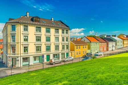 A street of Oslo with the traditional architecture, Norway. Colorful houses with the blue sky on the background Stock fotó