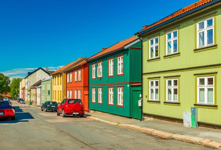 Colorful wooden houses on a street of Oslo, Norway Stock fotó