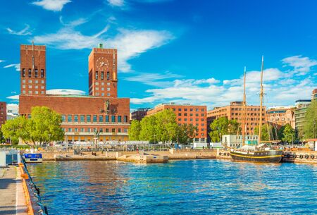 Cityscape of Oslo with the City Hall and the harbour, Norway
