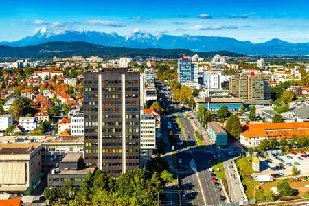 Cityscape of Ljubljana with the beautiful Alps in the background, Slovenia