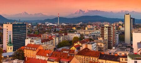 Picturesque cityscape of Ljubljana during the sunset, Slovenia