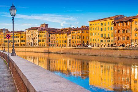 Evening cityscape of the famous Italian city of Pisa, Tuscany, Italy