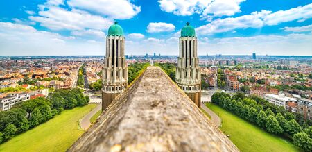Panorama of Brussels from the National Basilica of the Sacred Heart, Belgium Stock fotó