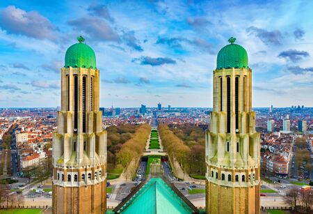 Beautiful panorama of Brussels (Bruxelles) viewed from the National Basilica of the Sacred Heart, Belgium