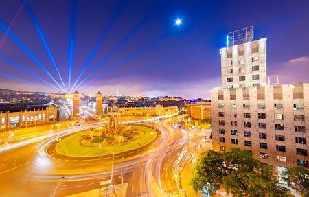 Night panorama of Barcelona, view of the central square (Plaça dEspanya), Spain