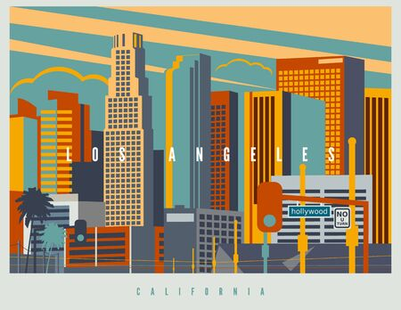 Downtown Los Angeles in vector. Cityscape of LA in retro style colors and stylization, vintage design illustration. California, USA