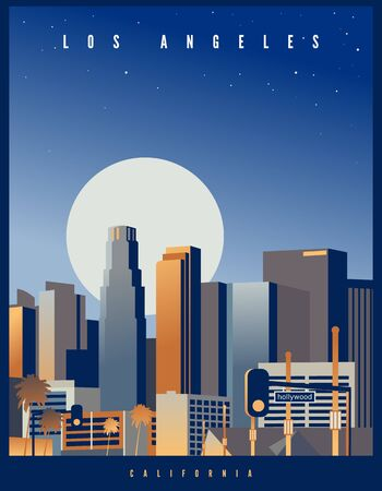 Los Angeles skyline with a big full moon and starry sky in the background. Retro style vector illustration. California, USA