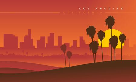 Los Angeles skyline during the sunset, viewed from the distance. Vector illustration. Stylized cityscape. California, USA Ilustrace