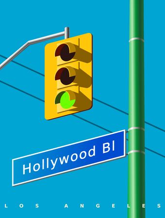 Hollywood street sign on the green pillar. A classic yellow traffic light with a green light signal. Realistic vector illustration. USA