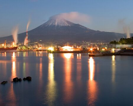 Early morning shot of the port in Fuji City, Japan with Mount Fuji in the background Stock Photo