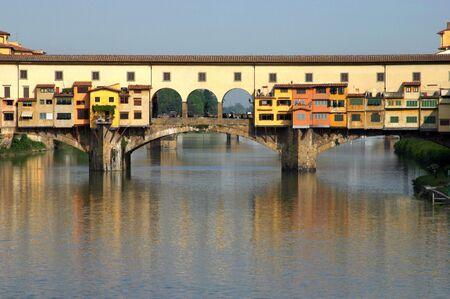 View of the famous old Ponte Vecchio bridge Stock Photo