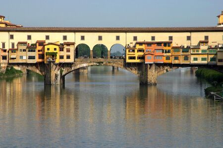 View of the famous old Ponte Vecchio bridge Stock Photo