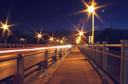 Night shot of an Italian bridge near Modena Stock Photo