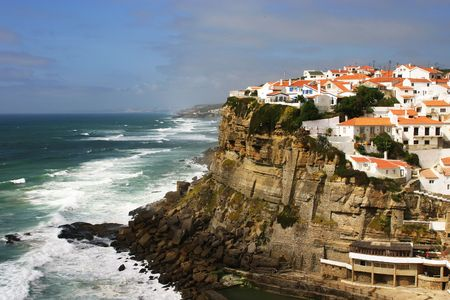The Portuguese town of Azenhas do Mar, perched on the edge of the Atlantic