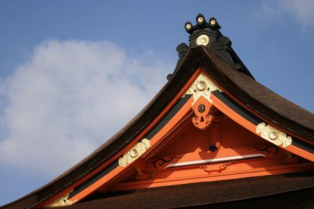 sengen: Details of one of the brightly colored roofs at the Sengen Shrine in Fujinomiya Stock Photo