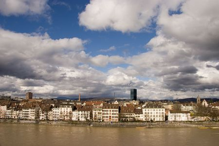 The city of Basel on the river Rhine