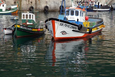 Brightly painted Portuguese fishing boats