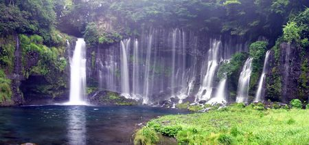 A panorama of Shiraito Falls, Fujinomiya, Japan made up of 5 Photos stitched together.
