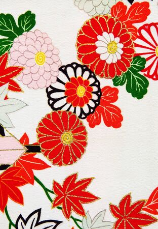 Close up of the floral design on a Japanese kimono