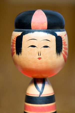 Details of a Japanese wooden doll