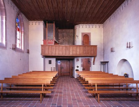 Interior view of an historic and beautiful old chapel in Basel Switzerland Editorial