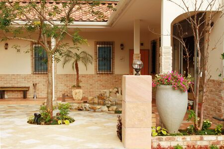 View of a newly constructed Spanish style courtyard