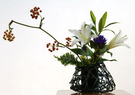 An example of Ikebana, the Japanese art of flower arrangement.