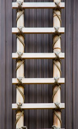A traditional Japanese ladder made from bamboo Stock Photo