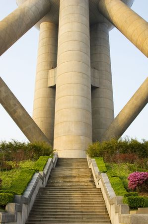 The base of the Oriental Pearl Tower in Shanghai. Stock Photo - 861048