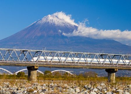 A Japanese bullet train speeding by Mount Fuji