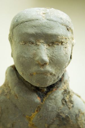 cultural artifacts: An ancient statue of a woman in Xuzhou, China
