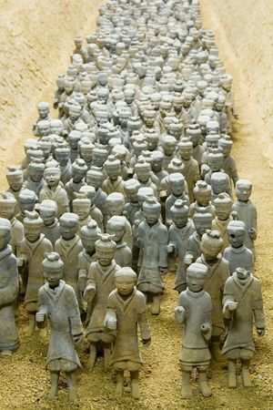 An army of 2000 year old miniature terracotta warriors in Xuzhou