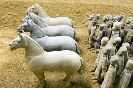 4 horses leading an army of terracotta warriors in Xuzhou, China
