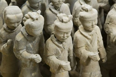 Details of some of the 2,000 year old terracotta warriors in Xuzhou, China