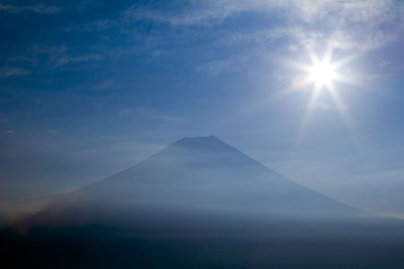 Mount Fuji with radiating sun Stock Photo