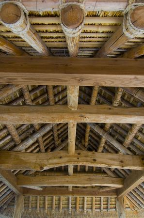 Interior details of a Japanese thatched roof pavilion