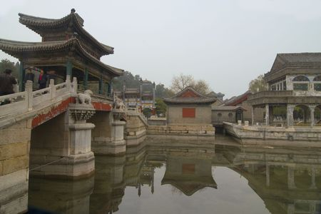 Reflections of buildings at the Summer Palace in Beijing