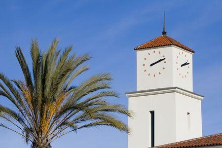 A clock tower in San Diego, California