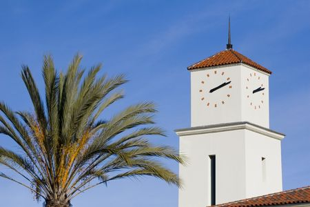 A clock tower in San Diego, California