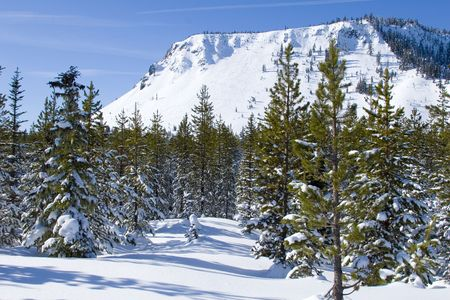 Winter scene in the Cascade Mountains of Oregon Stock Photo
