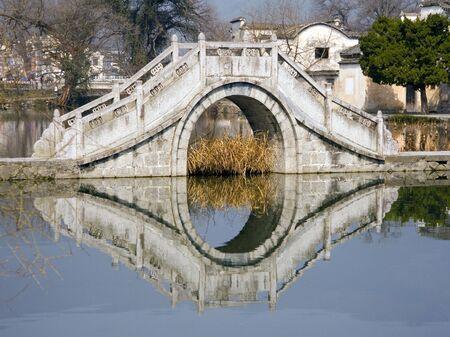 An elegant old bridge in the village of Hongcun, China