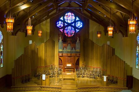hymn: The interior of an American church with a pipe organ