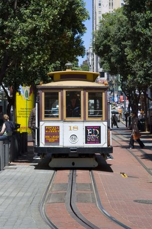 cable car: An old cable car departing from Powell Station in San Francisco