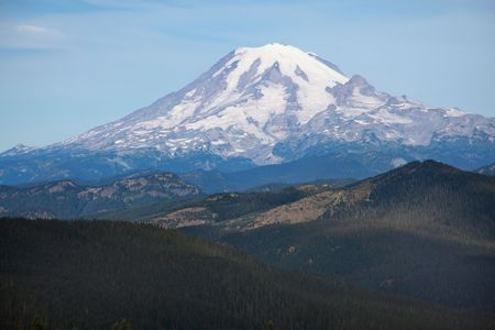 Close up view of snow covered Mount Rainier, Washington in Summer